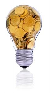 Golden lightbulb, creative symbol of renewable energy sources